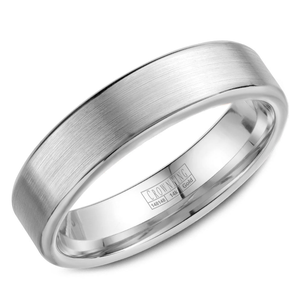CrownRing Classic Collection 5.5MM Wedding Band with Brushed Finish WB-9096
