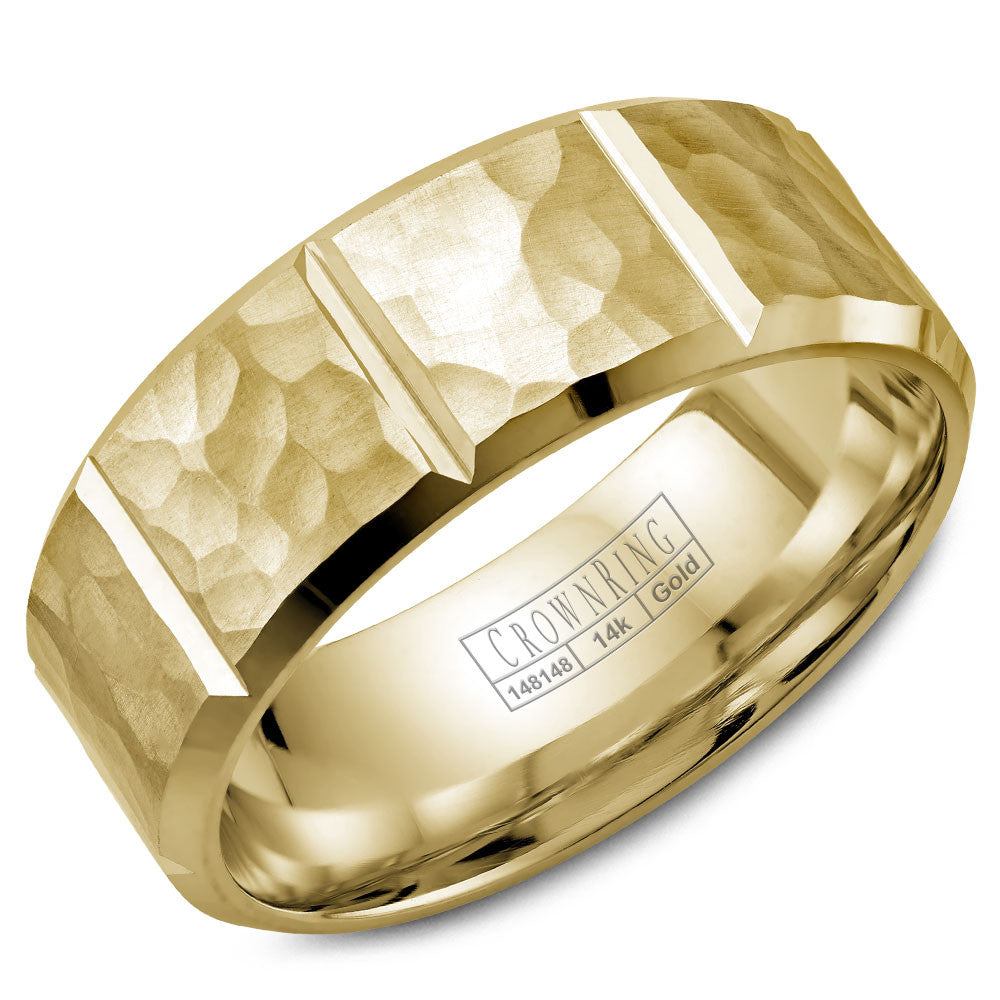 CrownRing Carved Collection 8MM Wedding Band with Hammered Finish and Notch Details WB-9097Y