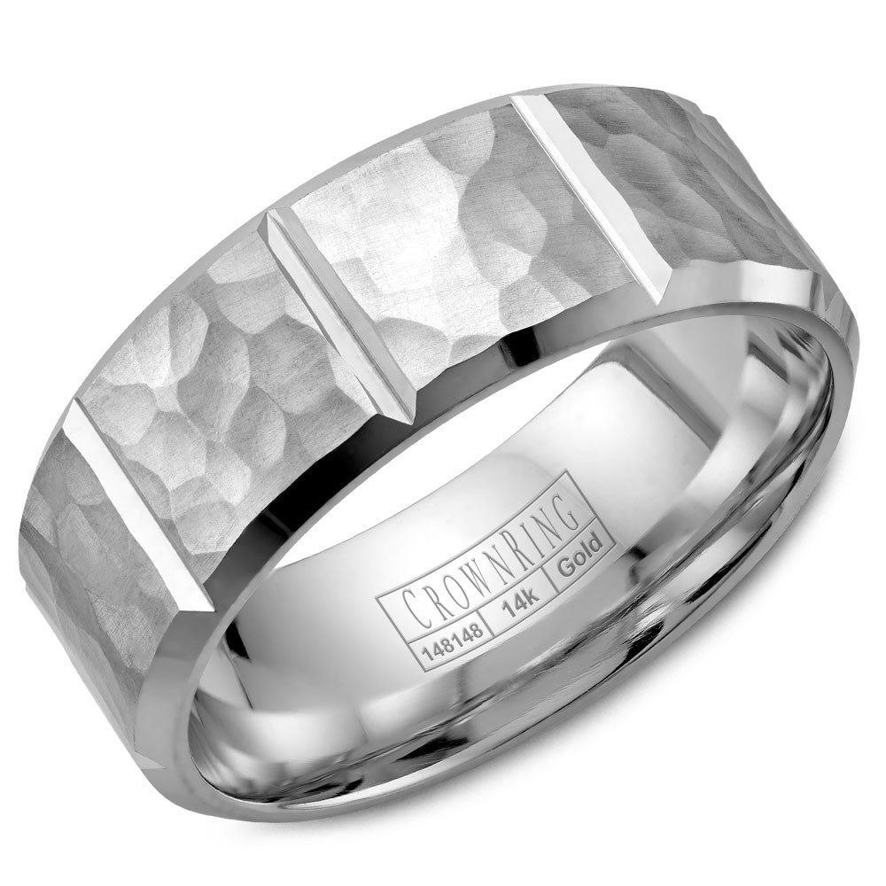 CrownRing Carved Collection 8MM Wedding Band with Hammered Finish and Notch Detailing WB-9097