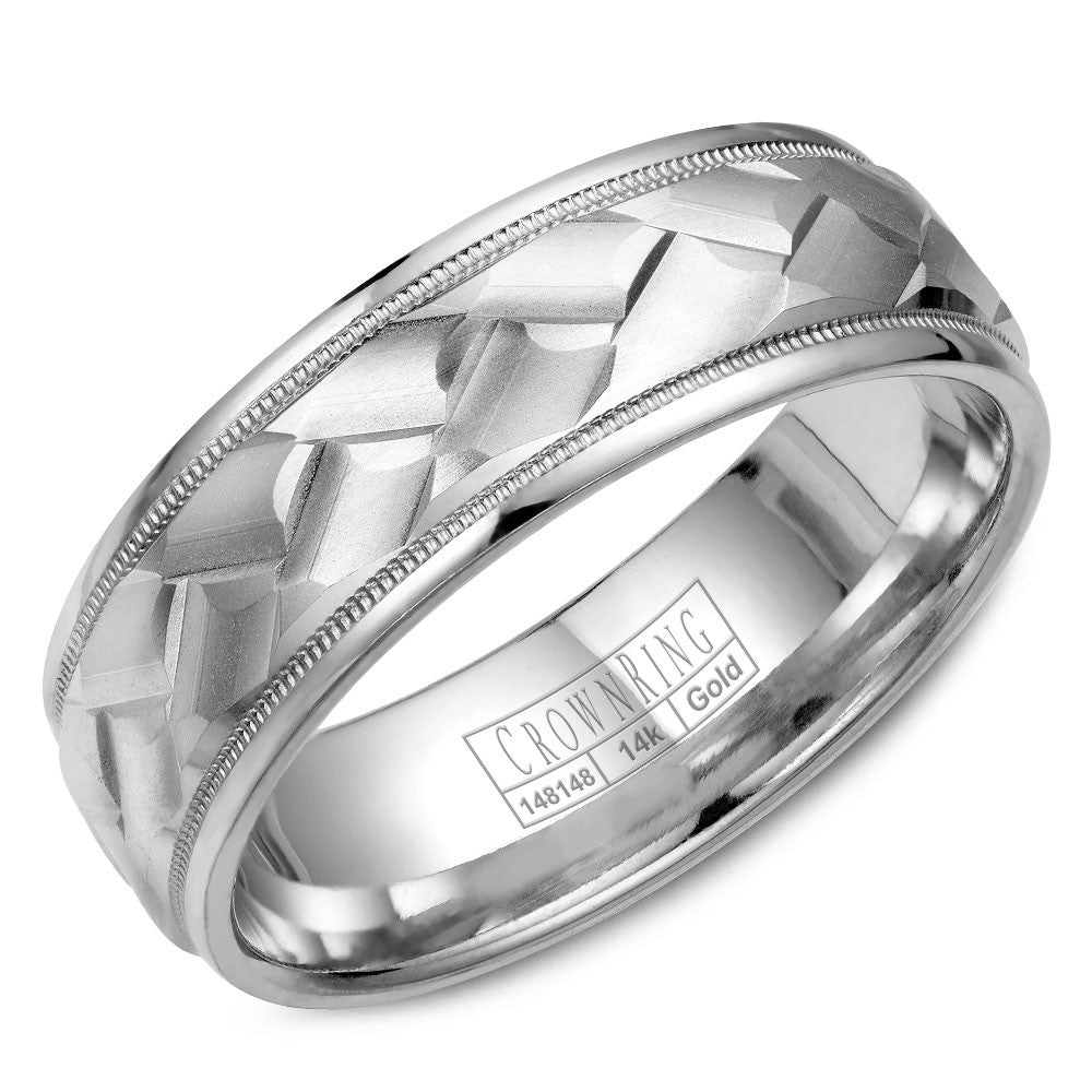 CrownRing Carved Collection 7MM Wedding Band with Carved Patterned Center and Milgrain Detailing WB-9098