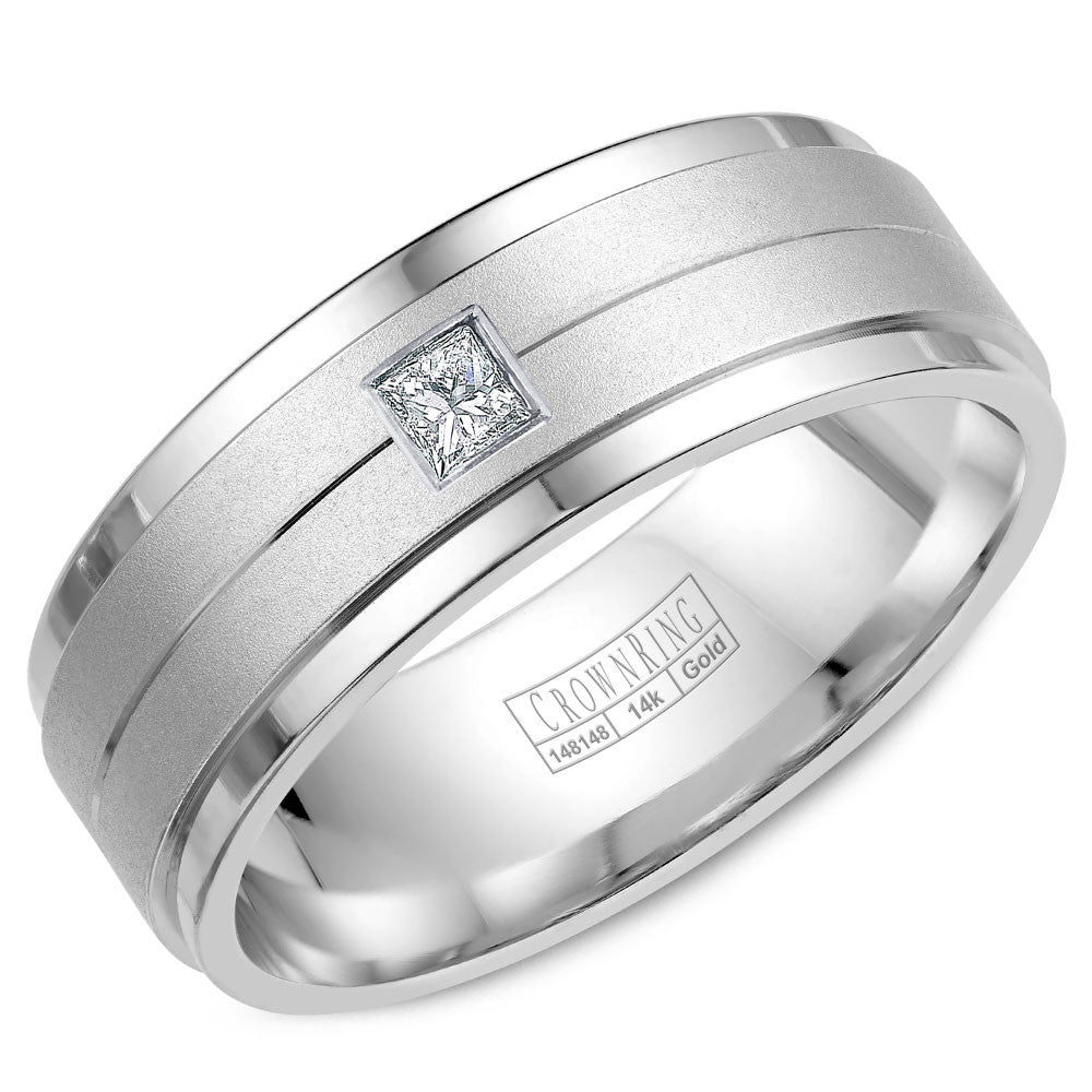 CrownRing Diamond Collection 8MM Wedding Band with 1 Princess Cut Diamonds and Brushed Center WB-9102