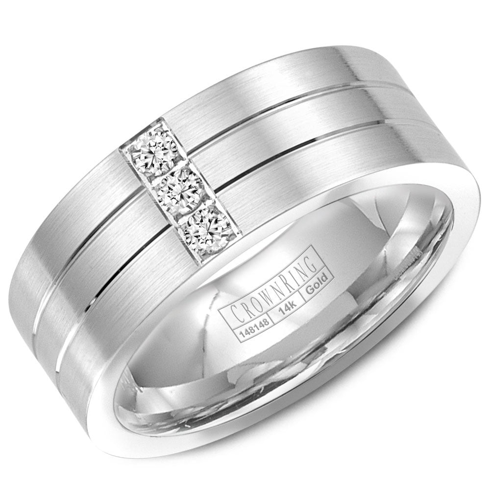 CrownRing Diamond Collection 8MM Wedding Band with 3 Round Diamonds and Brushed Center with Line Detailing WB-9110