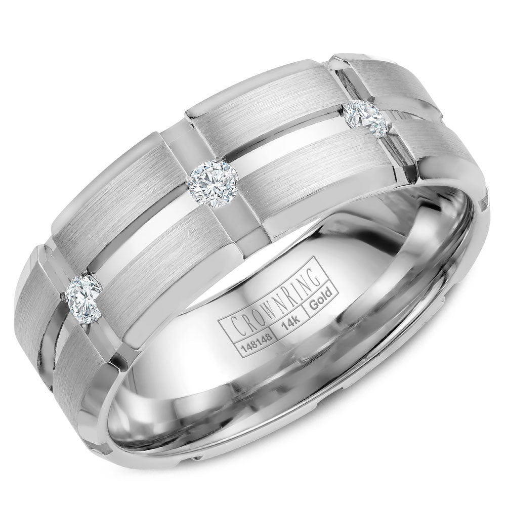 CrownRing Diamond Collection 8MM Wedding Band with 3 Round Diamonds and Brushed Center with Line Detailing WB-9114