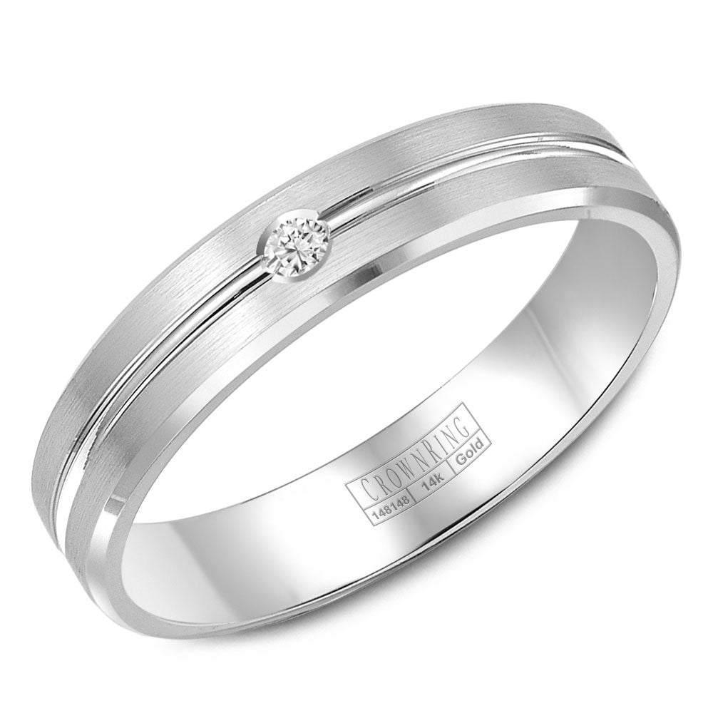 CrownRing Diamond Collection 8MM Wedding Band with 1 Round Diamonds and Brushed Finish WB-9124
