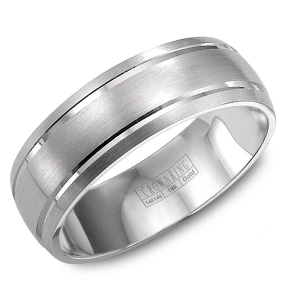 CrownRing Classic Collection 8MM Wedding Band with Brushed Center and Line Detailing WB-9142