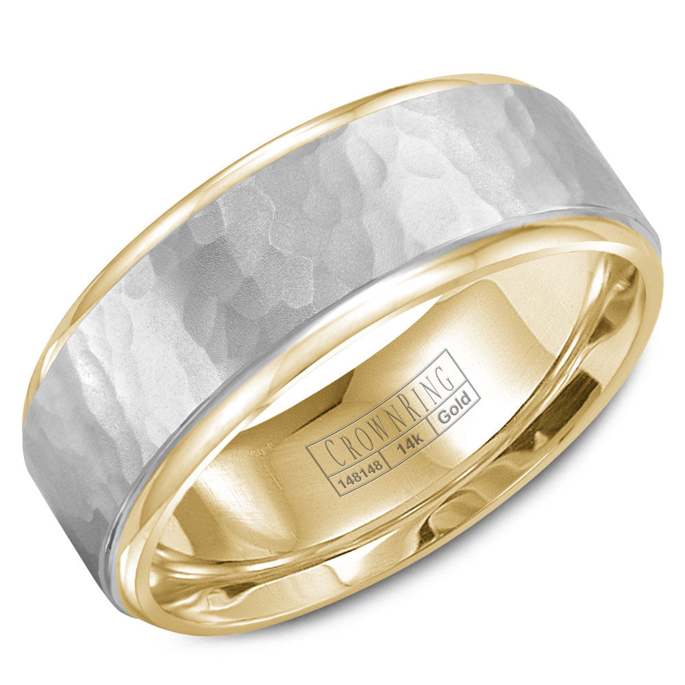 CrownRing Carved Collection 8MM Yellow Gold Wedding Band with White Gold Hammered Center WB-9300