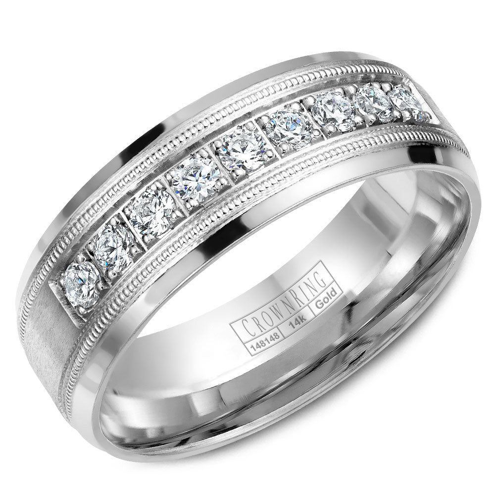 CrownRing Diamond Collection 6.5MM Wedding Band with 9 Round Diamonds and Miligrain Detailing WB-9346