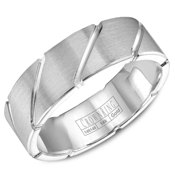 CrownRing Carved Collection 7MM Wedding Band with Brushed Finish and Line Detailing WB-9409