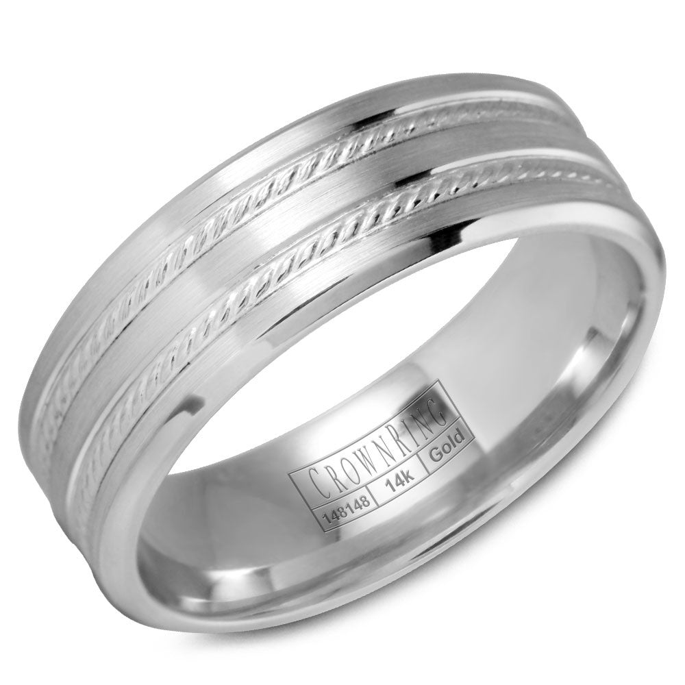 CrownRing Carved Collection 7MM Wedding Band with Brushed Finish and Rope Detailing WB-9503