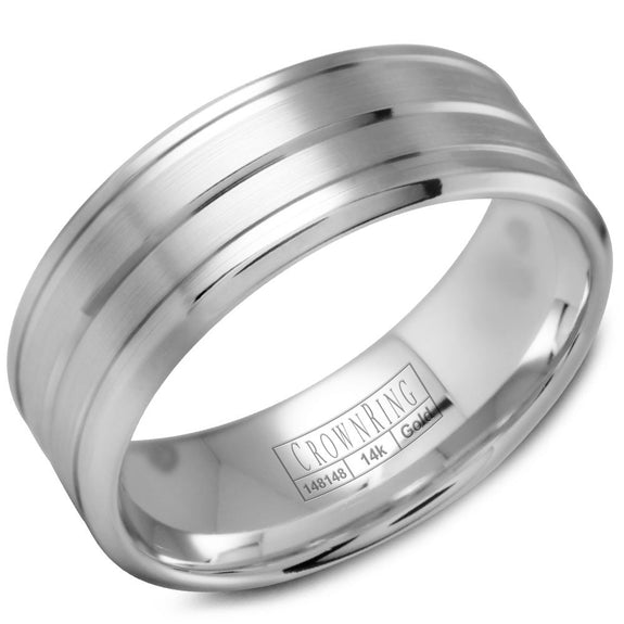 CrownRing Classic Collection 8MM Wedding Band with Brushed Center WB-9504