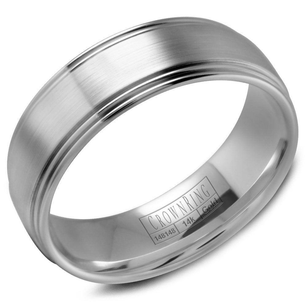 CrownRing Classic Collection 7MM Wedding Band with Brushed Center WB-9507