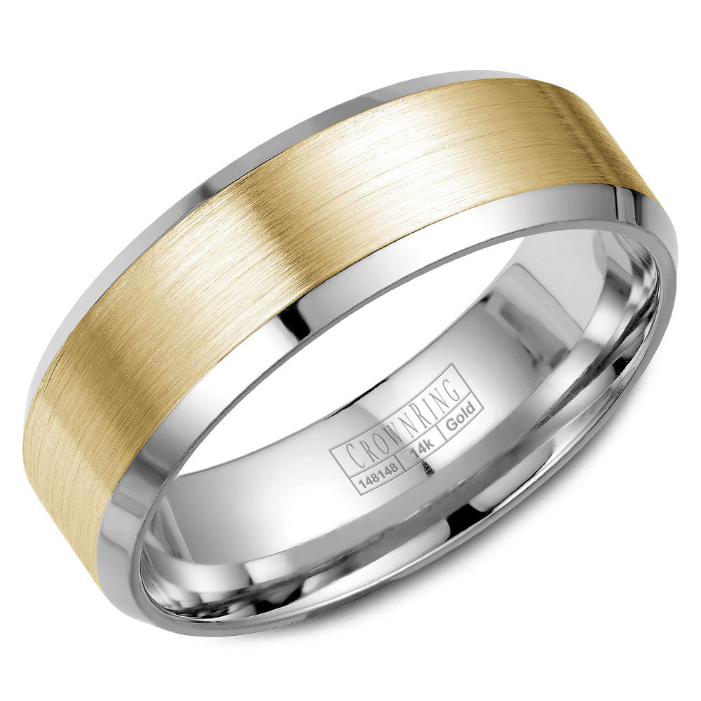 CrownRing Classic Collection 7MM Wedding Band with Brushed Center WB-9532