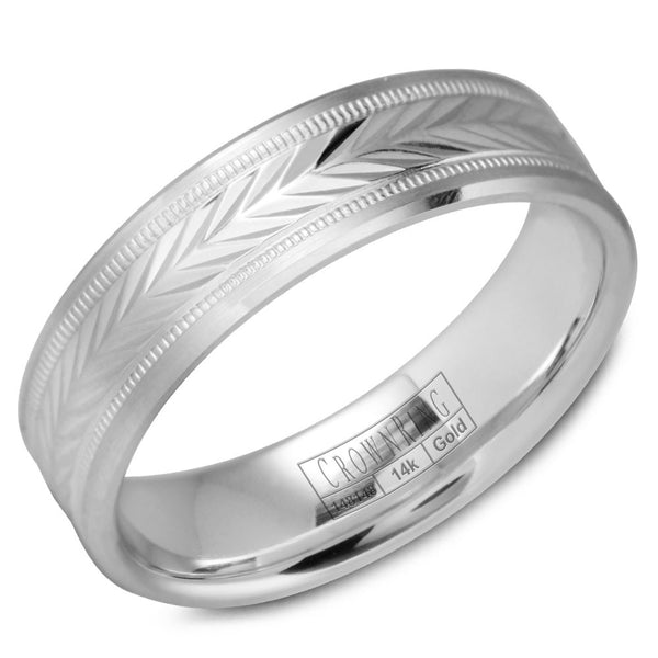 CrownRing Carved Collection 6MM Wedding Band with Carved Patterned Center and Milgrain Detailing WB-9539