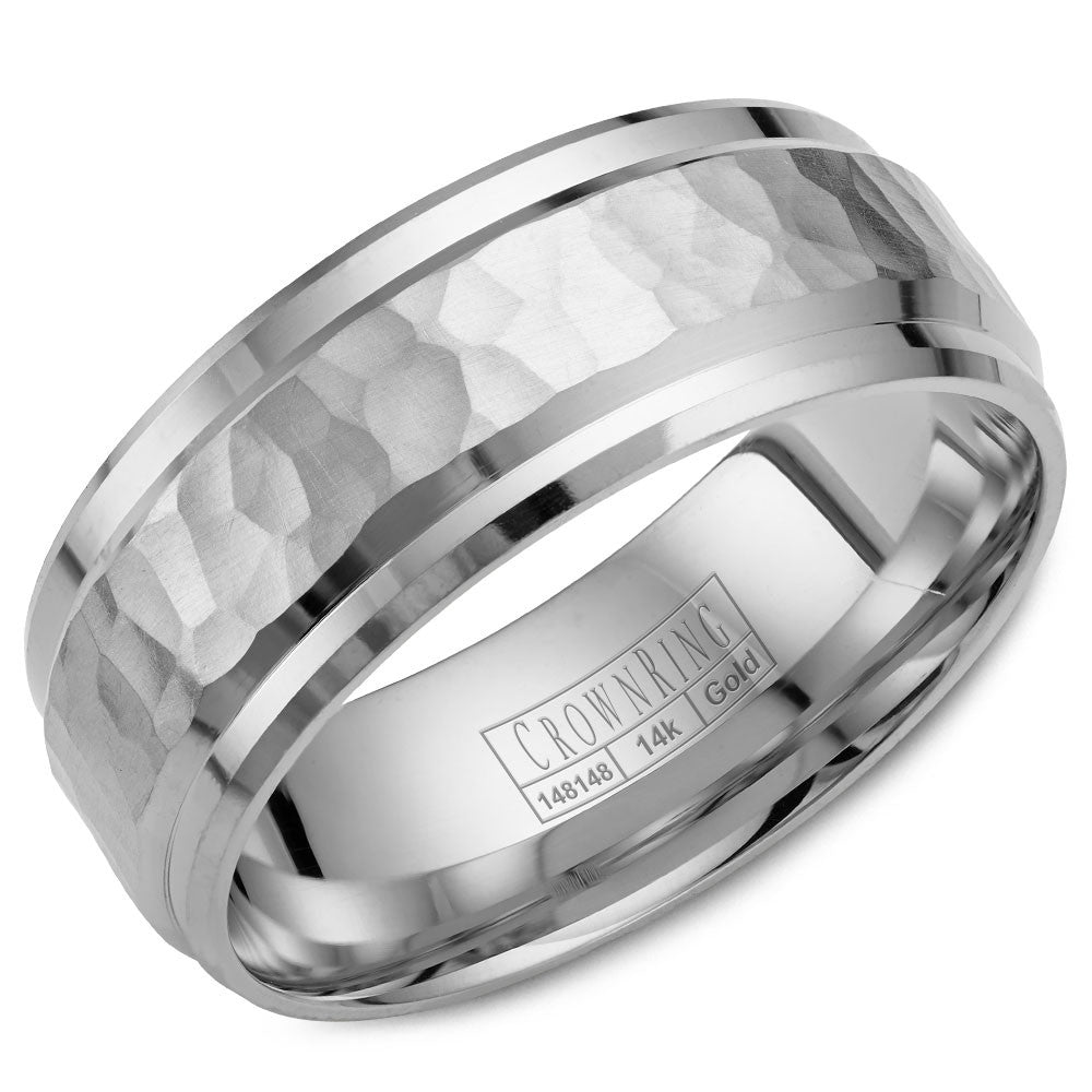 CrownRing Carved Collection 8MM Wedding Band with Hammered Center WB-9550