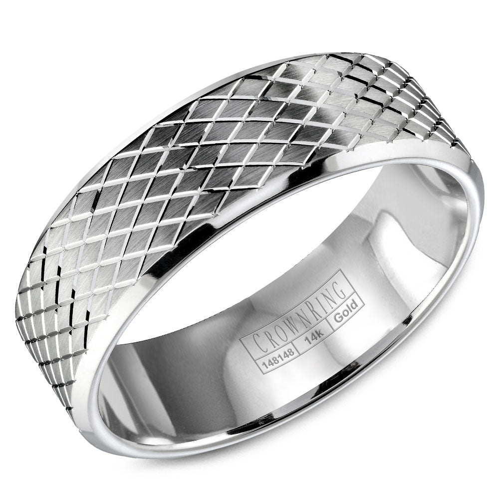 CrownRing Carved Collection 7MM Wedding Band with Carved Line Pattern WB-9572