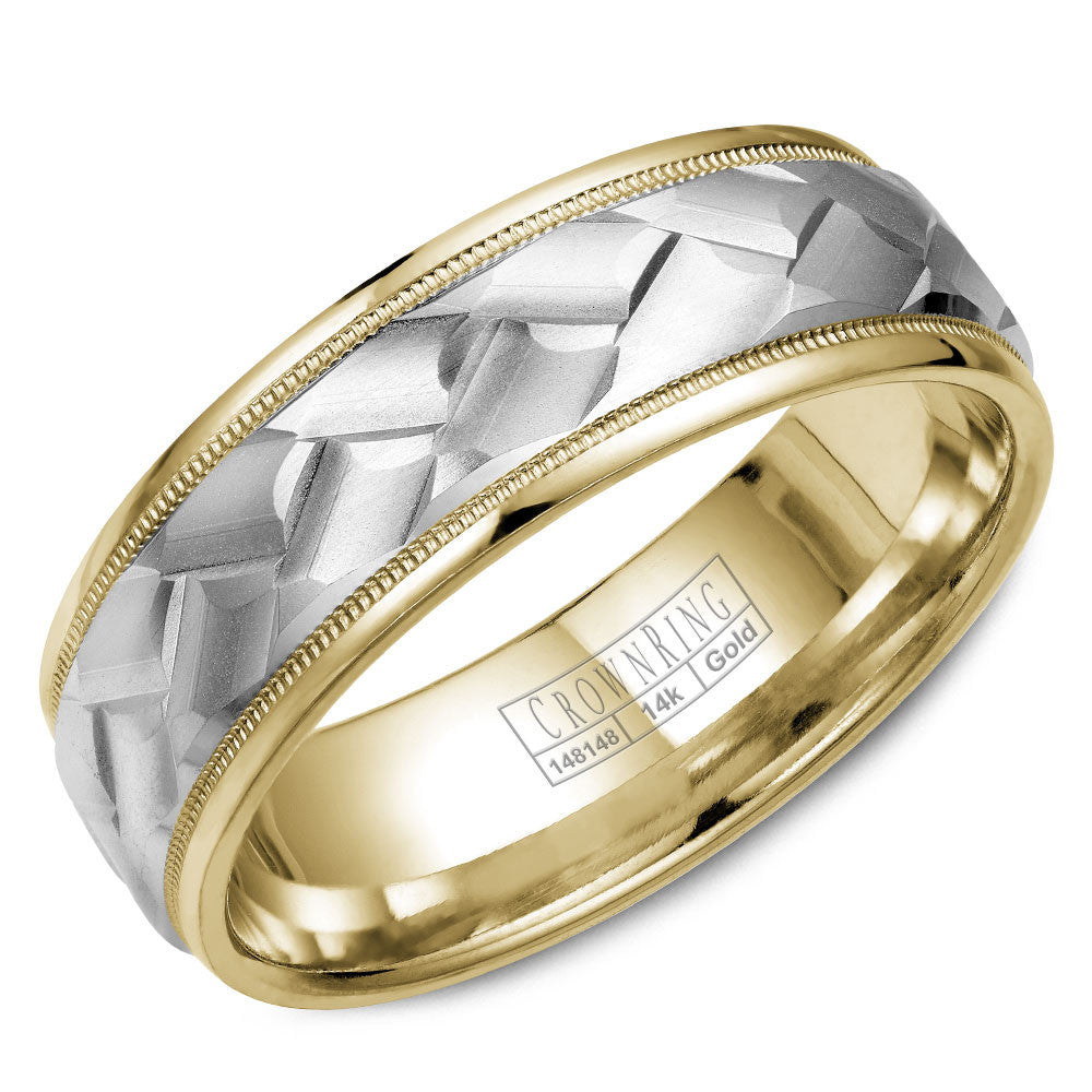CrownRing Carved Collection 7MM Yellow Gold Wedding Band with Miligrain Detailing and Carved White Gold Center WB-9583