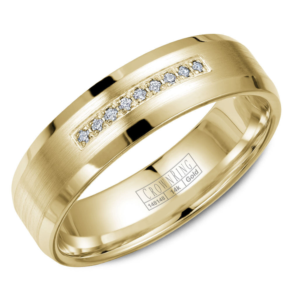 CrownRing Diamond Collection 6MM Wedding Band with 9 Round Diamonds and Brushed Finish with Beveled Edges WB-9612Y