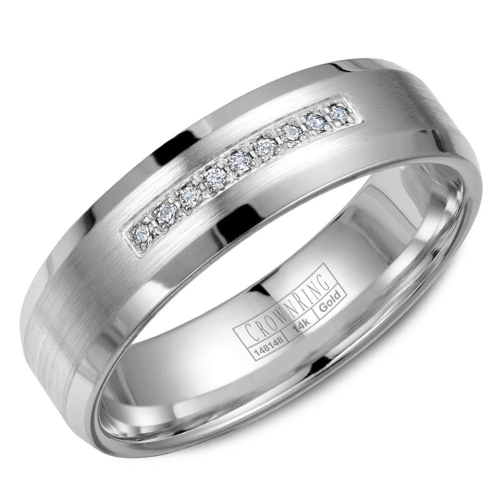 CrownRing Diamond Collection 6MM Wedding Band with 9 Round Diamonds and Brushed Center & Beveled Edges WB-9612