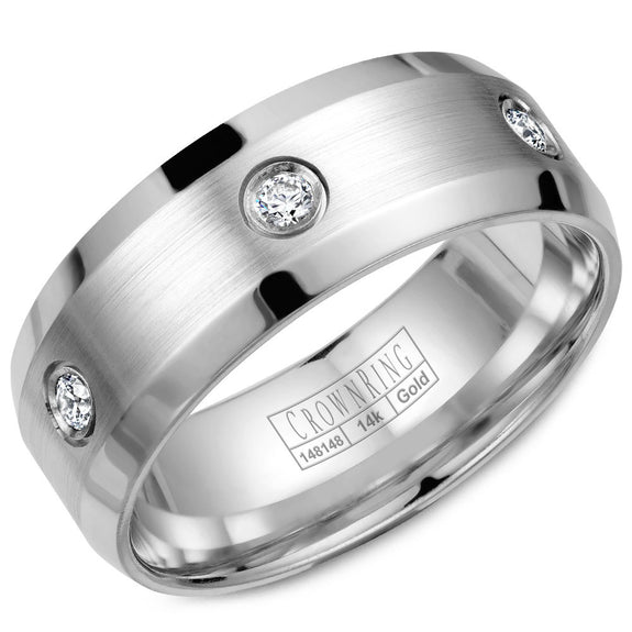 CrownRing Diamond Collection 8MM Wedding Band with 6 Round Diamonds and Brushed Center & Beveled Edges WB-9616