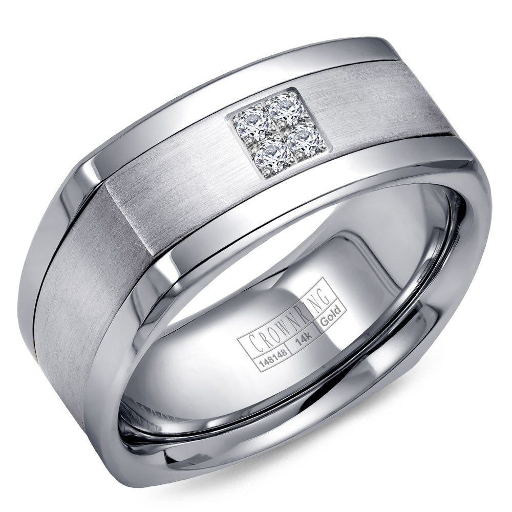 CrownRing Diamond Collection 9MM Wedding Band with 4 Round Diamonds and Brushed Center WB-9671