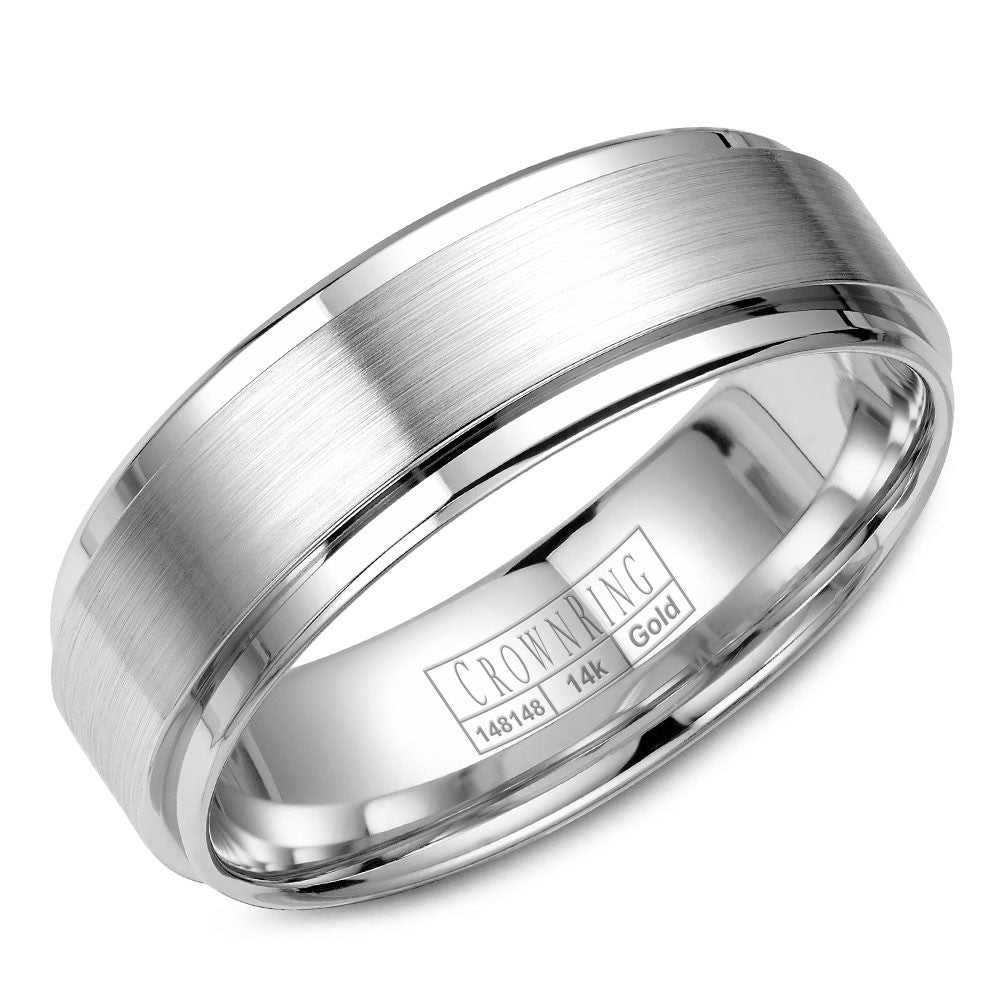 CrownRing Classic Collection 7MM Wedding Band with Brushed Center WB-9710