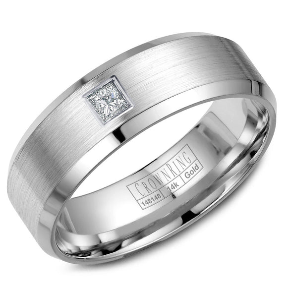 CrownRing Diamond Collection 7MM Wedding Band with 1 Princess Cut Diamonds and Brushed Center WB-9826