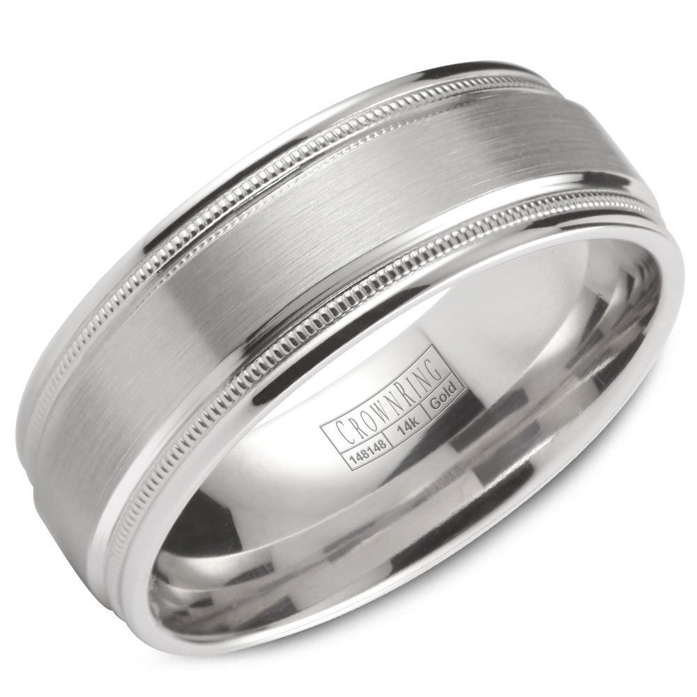 CrownRing Classic Collection 8MM Wedding Band with Brushed Center with Milgrain Detailing WB-9844