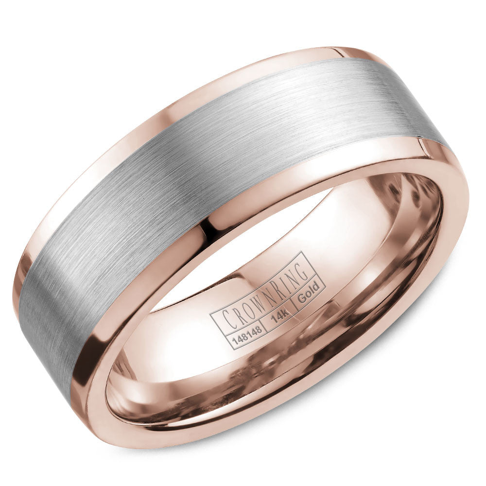 CrownRing Classic Collection 8MM Wedding Band with Brushed Center WB-9845WR