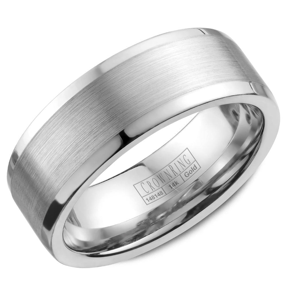 CrownRing Classic Collection 8MM Wedding Band with Brushed Center WB-9845