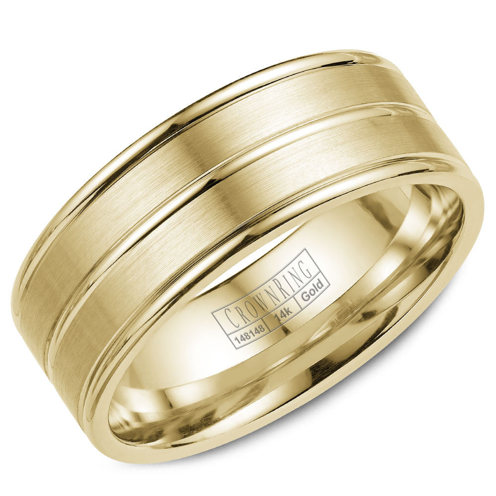 CrownRing Classic Collection 8MM Wedding Band with Brushed Finish WB-9901Y
