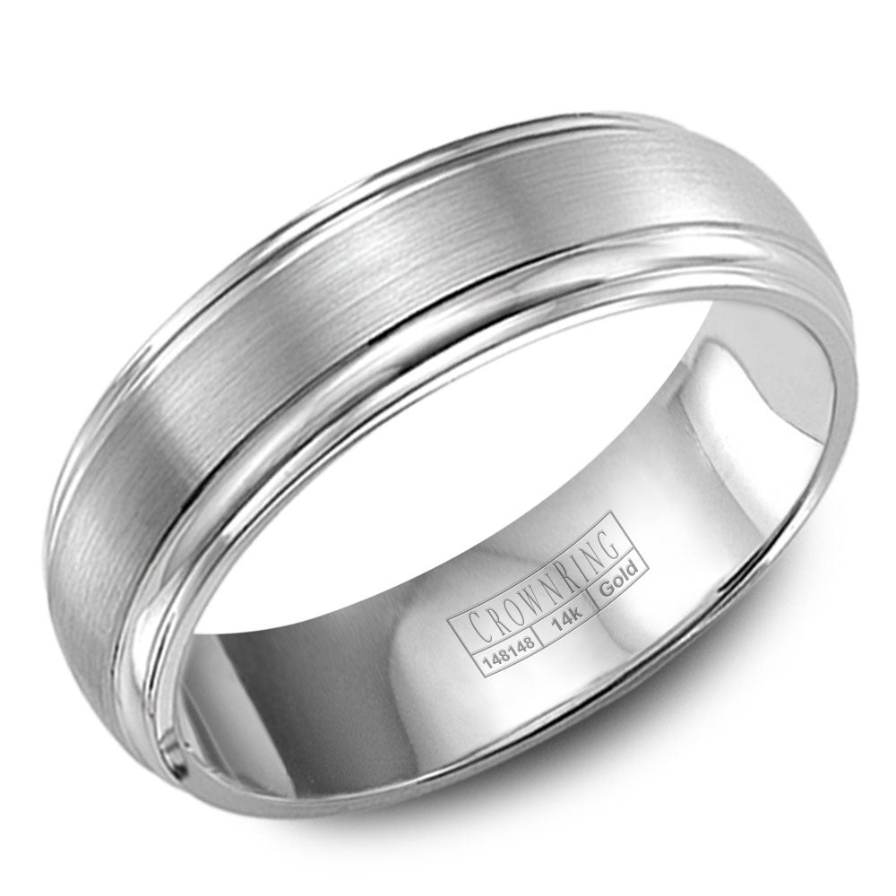 CrownRing Classic Collection 6MM Wedding Band with Brushed Center and Line Detailing WB-9903