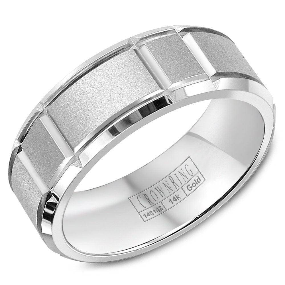 CrownRing Carved Collection 7MM Wedding Band with Sandblast Center and Notch Detailing WB-9910