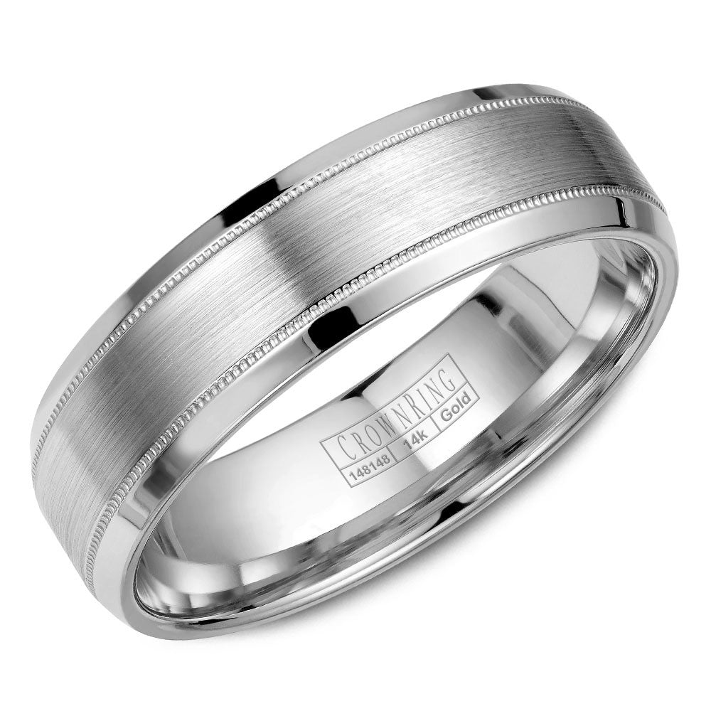 CrownRing Classic Collection 6MM Wedding Band with Brushed Center and Milgrain Detailing WB-9915