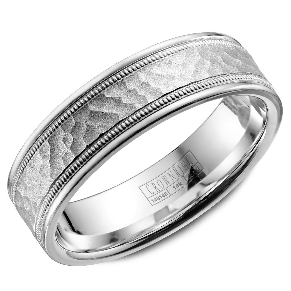 CrownRing Carved Collection 6MM Wedding Band with Hammered Center and Line and Miligrain Detailing WB-9917