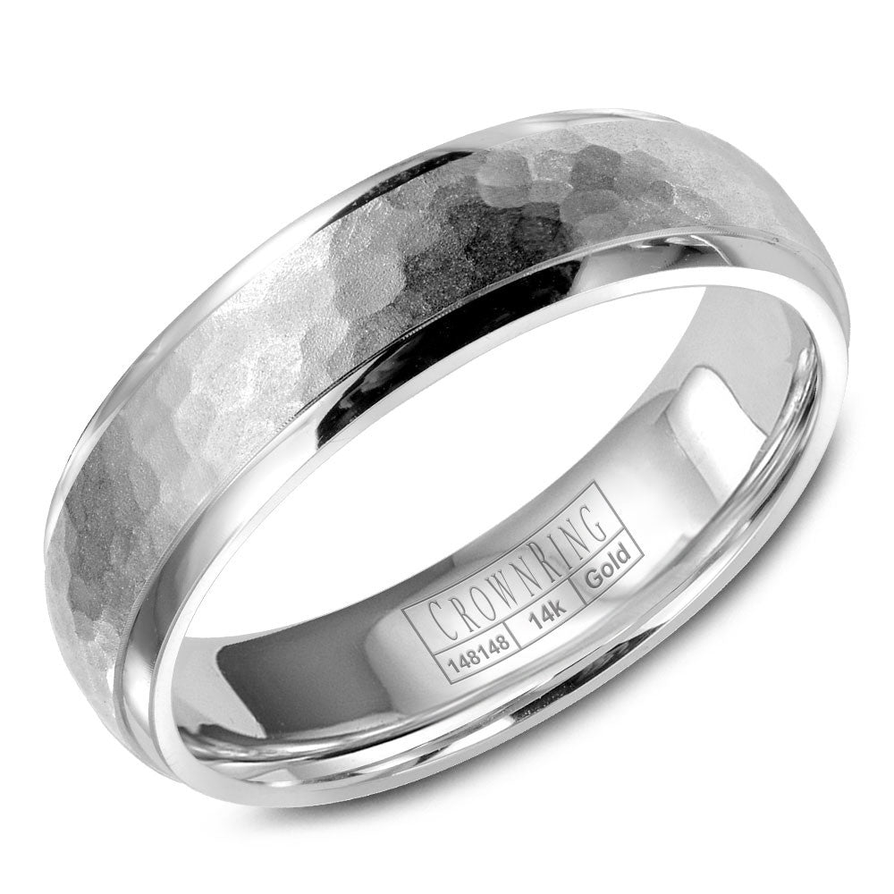 CrownRing Carved Collection 6MM Wedding Band with Hammered Center WB-9918