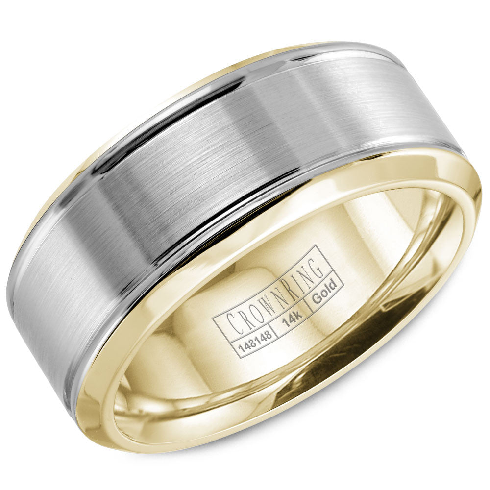 CrownRing Classic Collection 8MM Wedding Band with Brushed Center WB-9937