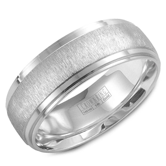 CrownRing Carved Collection 7.5MM Wedding Band with Textured Center and Line Detailing WB-9967
