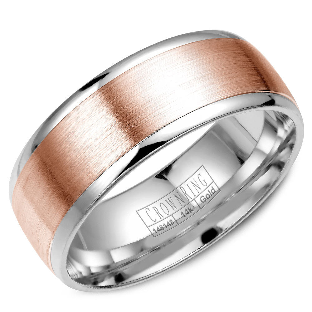 CrownRing Classic Collection 6MM Wedding Band with Brushed Center WB-RW7068