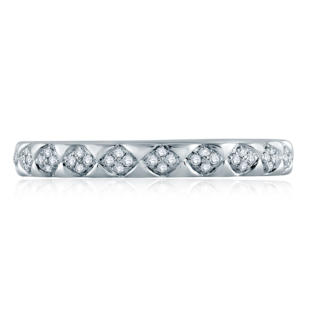 5bac5162c2089 A. Jaffe Pave Diamond Accent Quilted Shank Wedding Band WR1047Q/24
