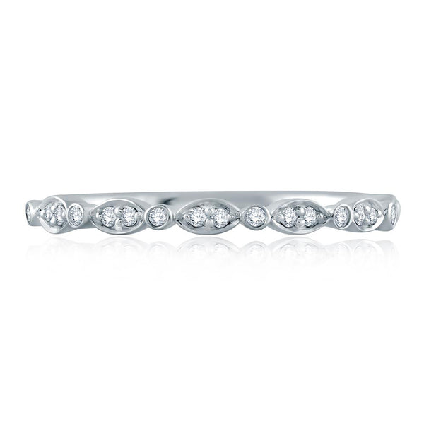 A. Jaffe Marquise and Round Shape Diamond Stackable Half Circle Band WR1055/10