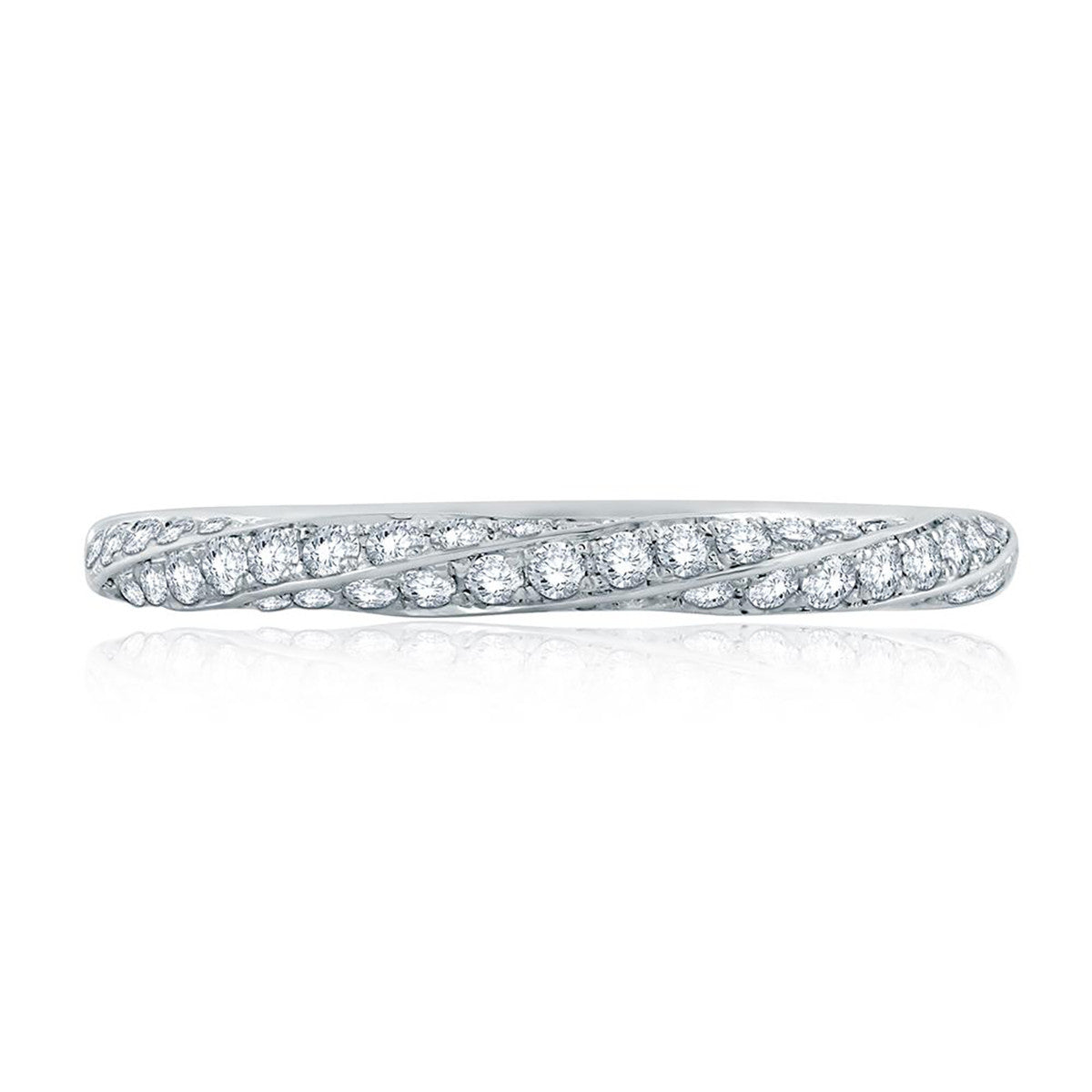 A. Jaffe Twist Pave Diamond Half Circle Stackable Band WR1062/33