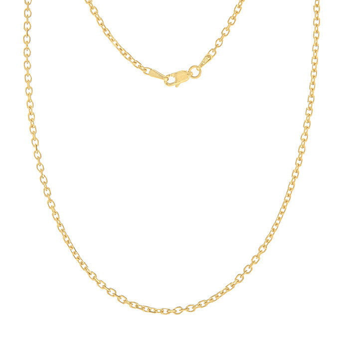 14K Gold 2.3mm Diamond-Cut Cable Chain with Lobster Closure