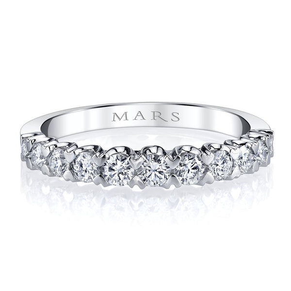 Mars Jewelry 14K White Gold Diamond Stackable Band w/ Heart Shaped Prongs 26344