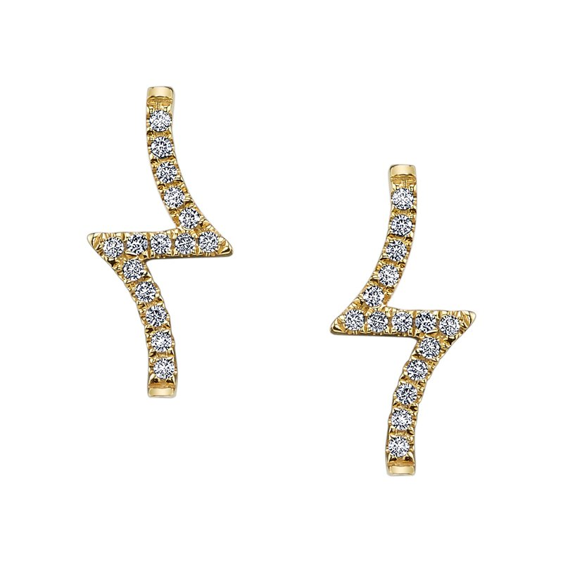 Mars Jewelry 14K Yellow Gold Stud Earrings w/ Geometric Diamond Accents 26620
