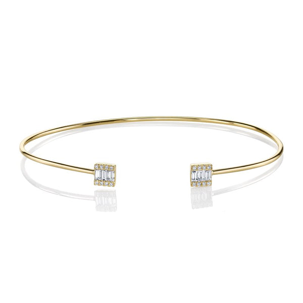 Mars Jewelry 14K Yellow Gold Bangle Bracelet w/ Diamond Baguettes 26814