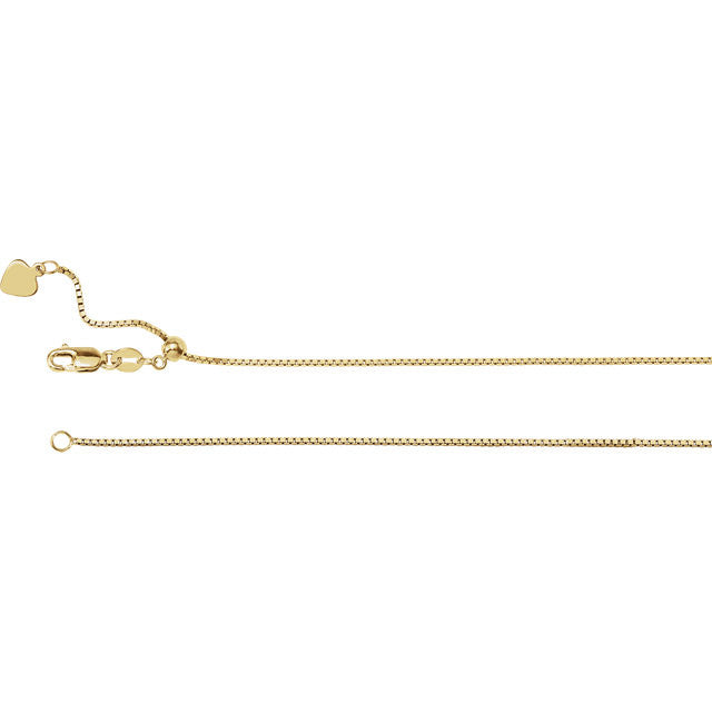 14K Gold 1mm Adjustable Box Chain with Lobster Closure