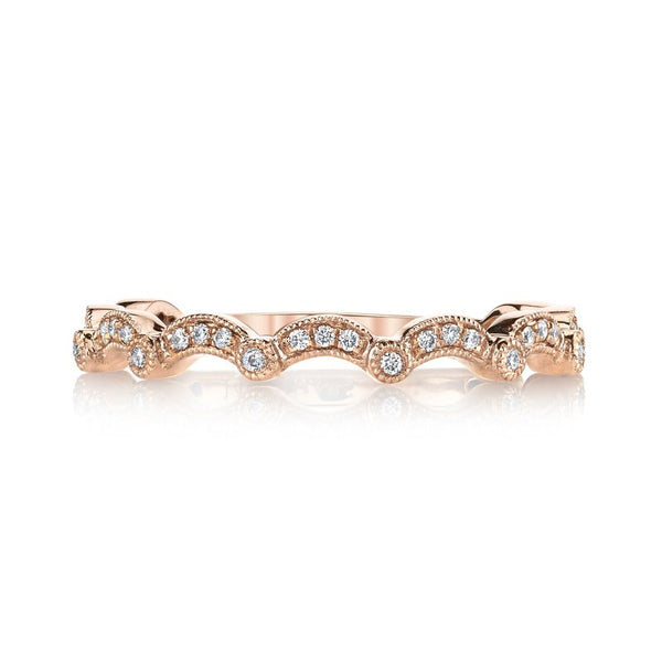 Mars Jewelry 14K Rose Gold Diamond Stackable Band w/ Pave Diamond Accents 26624