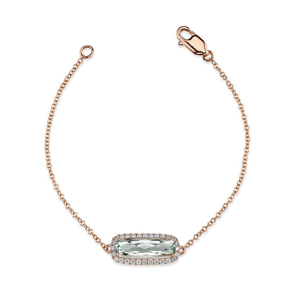 Mars Jewelry 14K Rose Gold Fashion Bracelet w/ Diamonds & Green Amethyst 26907
