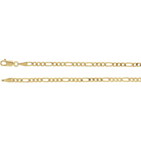 14K Gold 3mm Solid Figaro Chain with Lobster Closure