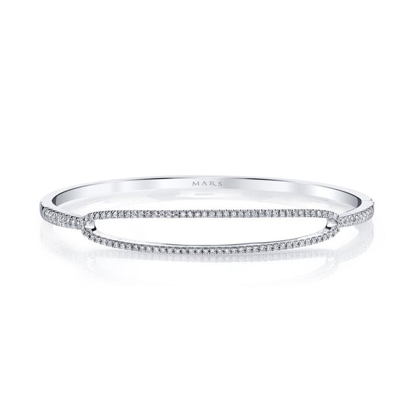 Mars Jewelry 14K White Gold Bangle Bracelet w/ Diamonds 26723